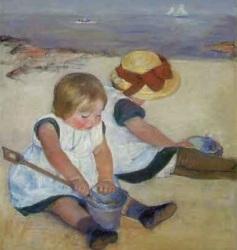 Niños jugando en la playa-Mary Cassatt